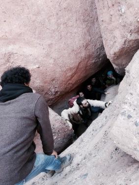 Climbing through the monkey fingers